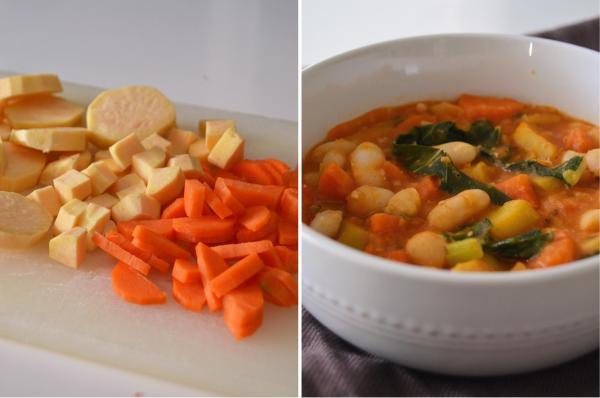 Batata-doce e cenoura // Estufado de feijão