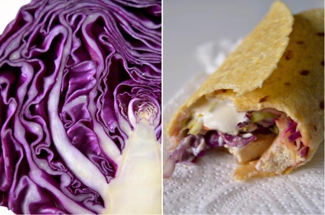 Couve roxa / Taco de tofu e salada de couve