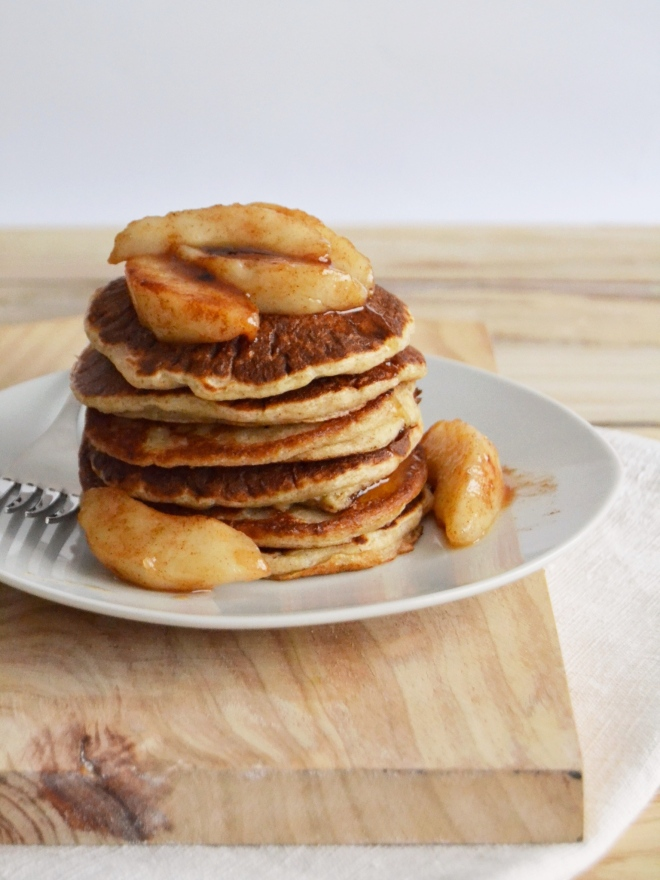 Rye pancakes with caramelized pears