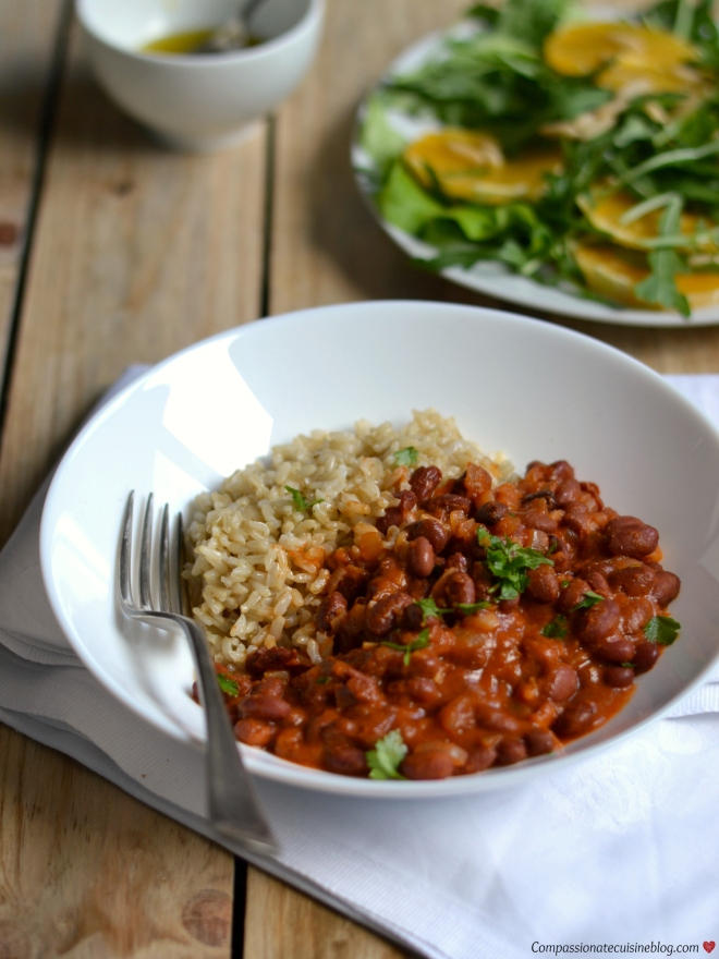 Red kidney beans with spicy tomato sauce