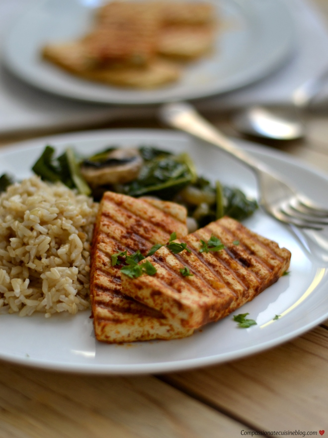 grilled tofu with brown rice and vegetables