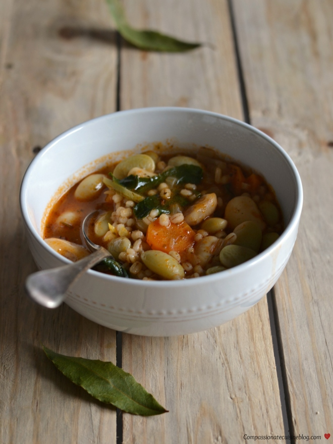 Lima bean stew with barley and kale1