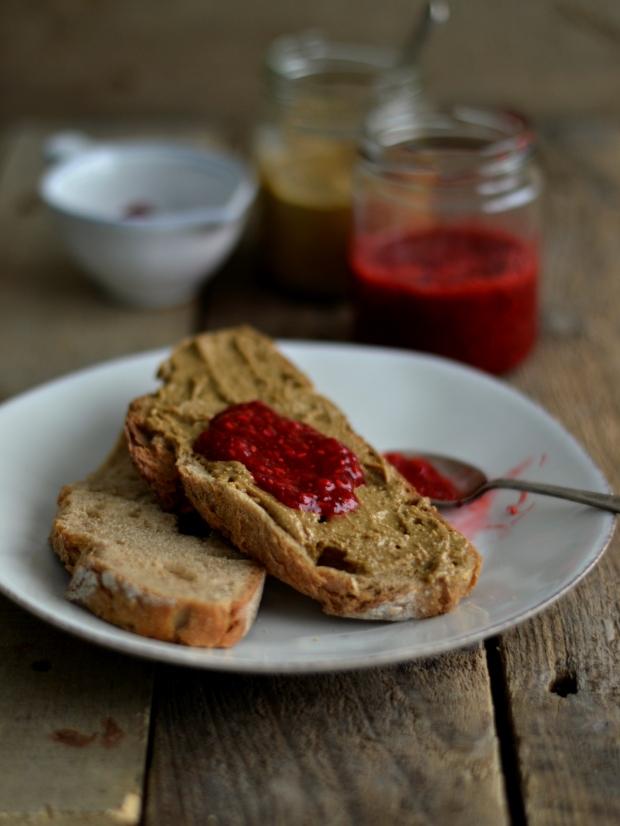 sunflower seed butter chia raspberry jam sandwich