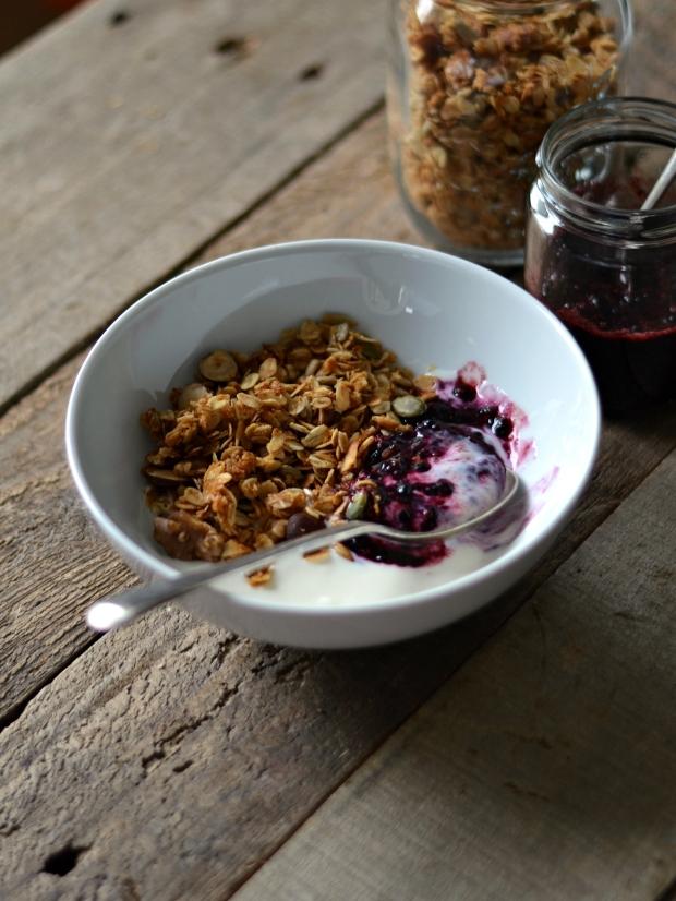 Granola with blackberry chia jam and yogurt