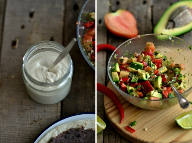 cashew sauce and salsa