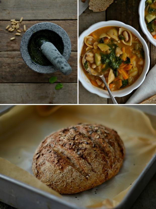 Minestrone + pesto + bread