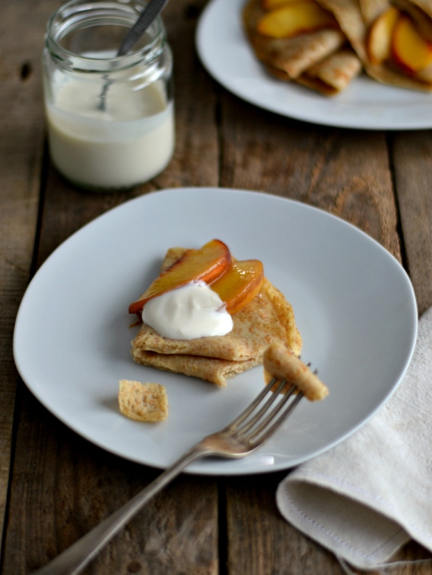 Peach yogurt crepes