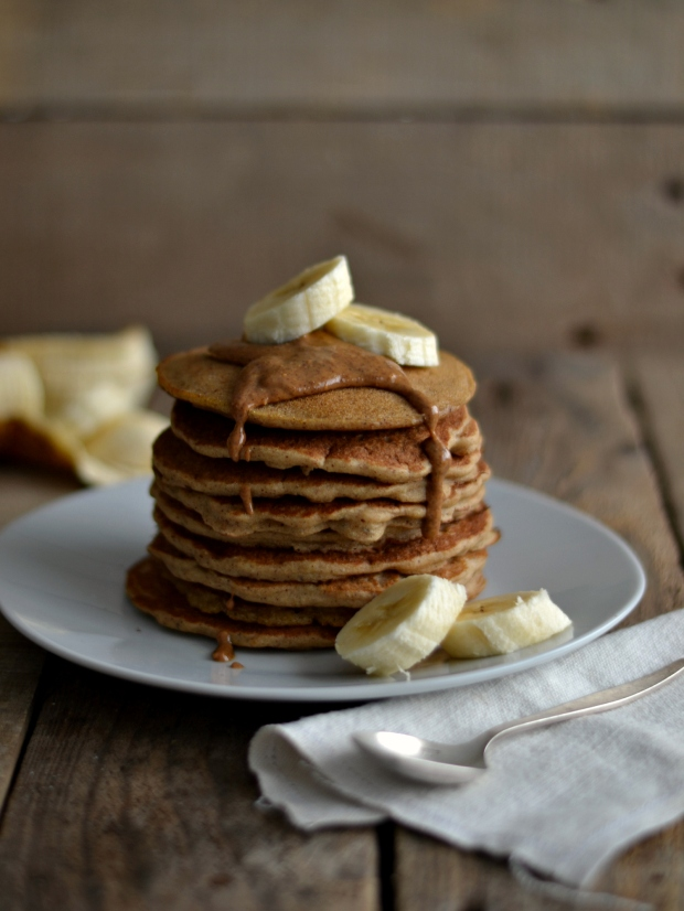 Almond butter buckwheat pancakes